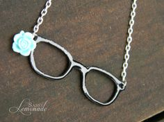 Cassie Black Glasses with a Baby Blue Vintage by SassyLemonade, $16.00