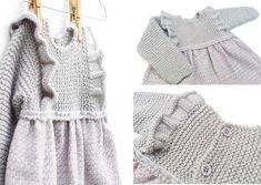 Vestido de punto y tela combinado de bebé – Tutorial y Patrón