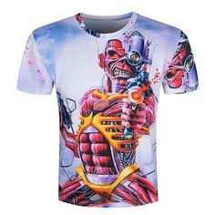New 2016 Summer 3d short sleeve t-shirt Skull Burning Print BLINDING Newest Design Casual Style Cool Men's