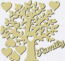 MDF Family English Oak Tree Craft Blank Laser Cut 8 Hearts Words Our Family