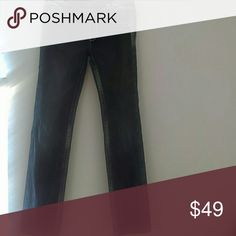 """Miss Me jeans in Irene cut Miss Me jeans in Irene cut. Straight leg with white, tan and navy blue stitching. Flap pockets with large button closure. Whiskering and minor distressing. Inseam is 30"""".? Miss Me Jeans Straight Leg"""