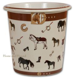 "Hunt Club Waste Can. Cast in heavy porcelain this functional but decorative waste can is covered with equestrian images from horse to riding boots against an antique crackling finish. Each piece is hand-decorated and slight variations will occur. Can also be used as a vase or planter, perfect for the equestrian home or office. 10"" dia. x 10"" tall."