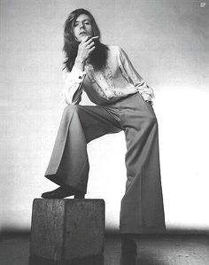 David Bowie in 1970: the Hunky Dory phase. I really like the long hair and the trousers.