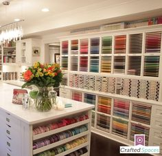 """Take a tour of this amazing craft room! """"Crafted Spaces"""" is an exclusive video series featuring three renovated craft rooms which incorporate Stamp-n-Storage products into their studio designs. Hear tips and tricks from their owners, and virtually tour these beautiful rooms that are definitely Crafted Spaces."""