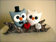 DEPOSIT for Owl love on a branch custom wedding cake topper. $20.00, via Etsy.