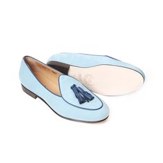 Men's Sky Blue Nabuk Italian Loafer With Navy Nappa Tassel - New Arrivals - Men's