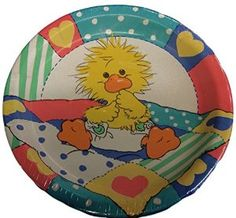 """Amazon.com: Custom & Unique {10.5"""" Inch} 18 Count Multi-Pack Set of Large Size Round Circle Disposable Paper Plates w/ Cute Baby Ducking Toddler Birthday Design """"Blue, Pink, White & Yellow Colored"""": Kitchen & Dining"""