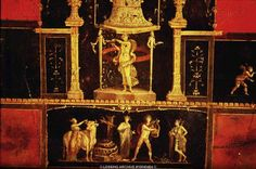 Fourth Style Wall Painting (c. 20 AD to c. 79 AD) Wall painting at Triclinium, the House of Vettii, Pompeii. (Apollo and Omphale) Ancient Pompeii, Pompeii And Herculaneum, Ancient Art, Pompeii Italy, Rome Antique, Art Antique, Rome Painting, Empire Romain, Classical Antiquity