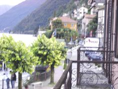 Looking over a hazy Lake Como while staying at a villa in Argeno, Italy