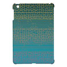 Teal Yellow Broken Lines Abstract Pattern iPad Mini Cases - craft diy cyo cool idea