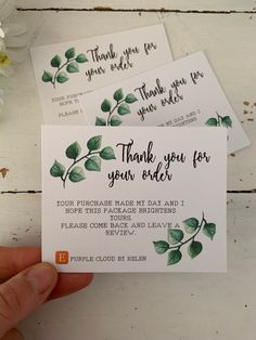 Excited to share this item from my #etsy shop: 10 pack personalised thank you for your order business cards | green foliage design Business Thank You Notes, Order Business Cards, Small Business Cards, Craft Business, Business Card Design, Etsy Business Cards, Business Stickers, Thank You Card Design, Thanks Card