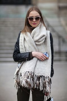 Street Style -- cream scarf, leather moto, army green leggings
