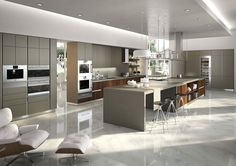 Kitchen:Gray Kitchen Island With Wooden Accent Suspended Stainless Steel Rack Gray Kitchen Cabinets White Pendant Light Comfy Armchair Elegant Black Bar Stools Ceiling Lights White Marble Floor Luxury Kitchen Arrangements: Integrate Modularity With Minimal Aesthetics