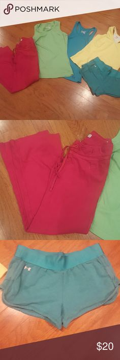 Workout set 2 under armour tanks,  yellow danskin, under armour shorts, Nike pants Other
