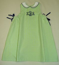 Ribbon Swing Dress in Lime Gingham with navy monogram.