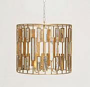 "Luminaire en feuille d'or et miroir - Pendant in gold leaf and mirror. ,17""h x 20""dia. 3 x 40W Type B."