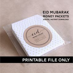 Eid Money Packet/Envelope- PRINTABLE DIY ONLY. 6 Designs: tribal, calligraphy, colours, clasic, typography & pastel. Print as many times as you wish. Eid gift, eid mubarak