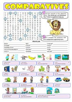 First student need to find the opposite of the adjectives given in the wordsearch. This way they work on the meaning of the adjectives they will have to use in the comparative form in the second exercise. For an interactive practice game go to: https://en.islcollective.com/resources/projectables/powerpoints_ppt_pptx/comparative_of_superiority_-_hangman_game/comparison-comparative-adjectives/88293 - ESL worksheets