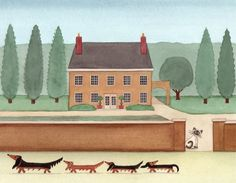 Family of dachshunds (doxies) take a walk in city / Lynch signed folk art print