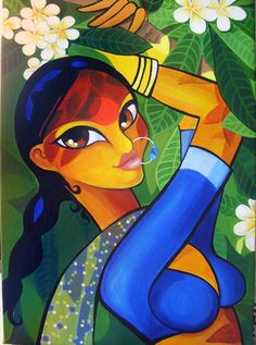 Frangipani - Acrylics on Canvas- Indian woman painting