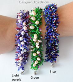 Bracelet Garden Bed. Beading TUTORIAL by Olgaterranova on Etsy