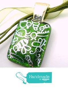 """New Silver """"Doodle Bug"""" Dichroic Glass Pendant Necklace Green Sparkly Glass Background, Silver Plated Glitter Bail, Multiple Cord Adjustable Silk Cord from Glass Creations by Marcia http://www.amazon.com/dp/B01DMRRCH6/ref=hnd_sw_r_pi_dp_Dqg.wb1AD3B7P #handmadeatamazon"""