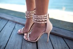 Studded ankle heels