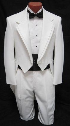 custom suit Men's boys White Tuxedo Tailcoat Dance Costume Tux Tails Coat Bridegroom wedding suits(Jacket+Pantsbow)Free Shipping