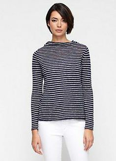 navy and white striped sweater #eileenfisher