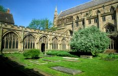 Worcester Cathedral, England, the cloisters.