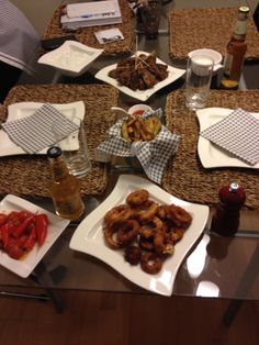 Finger food: onion rings, kebabs, tatziki and fries