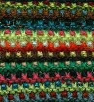 mosaic garter stitch: firm, use 2 or more colors, simple