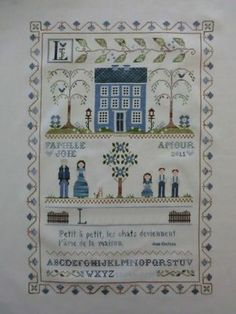 LHN___2011_02_19___family_sampler__nom_cach__ Stitch 2, Cross Stitch, Country Cottage Needleworks, Yesterday And Today, Couture, Points, Crochet, Needlepoint, Sewing