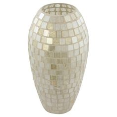 """Mosaic vase.   Product: VaseConstruction Material: Glass and tileColor: BeigeDimensions: 5.75"""" Diameter"""