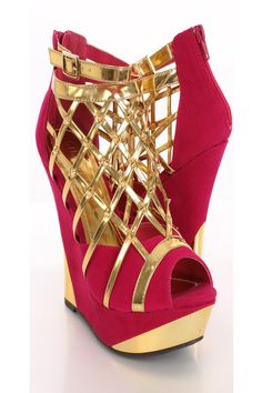 You will be head over heels for these saucy little numbers! They will perfectly compliment any outfit for any occasion! Make sure to add these to your collection, they definitely are a must have! The features for these wedges include a metallic faux leather caged design with spike studded detailing, ankle strap with side buckle accent, faux suede two tone design, back zipper closure, peep toe, smooth lining, and cushioned footbed. Approximately 5 1/2 inch wedge heels and 1 1/2 inch…