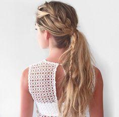 big side braid into ponytail