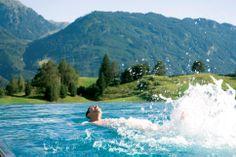 Wellnessresidenz Schalber Serfaus-Fiss-Ladis / Tirol - Infinity-Pool Infinity Pool, Mountains, Nature, Travel, Viajes, Traveling, Nature Illustration, Off Grid, Trips