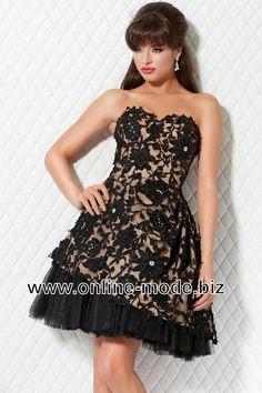 Schwarzes Abendkleid Kurz mit Stikereien von www.online-mode.biz