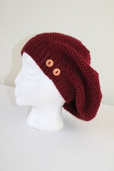 Knit Slouchy Hat  Adult or Teen  Burgundy Red by SnuggableStitches