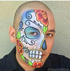 10 Spooky Makeup Looks for the Halloween Fanatic Skull Face Paint, Sugar Skull Face, Sugar Skull Makeup, Sugar Skulls, Amazing Halloween Makeup, Halloween Skull, Halloween Face Makeup, Adult Face Painting, Body Painting