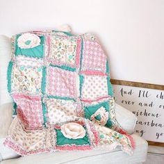 Bohemian Nursery Baby Girl Floral Crib Bedding - Gold / Coral / Mint - Crib Bedding - A Vision to Remember #babygirlnursery #shabbychicnursery #floralnursery #cribbedding
