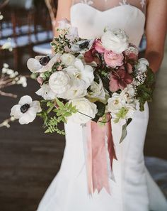 Stunning White and Pale Pink Winter Wedding Bouquet