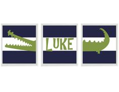 Alligator Nursery Art, Baby Boy Nursery Art, Navy Stripes, Preppy Wall Art, Madras Alligator Art ,Personalized Nursery Art, Baby Boy Room by RizzleandRugee on Etsy https://www.etsy.com/listing/160510857/alligator-nursery-art-baby-boy-nursery