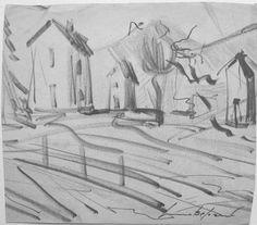 E. Besozzi pitt. s.d. (1955) Paesaggio pennarello e matita su carta cm. 18,5x21 arc. 1207