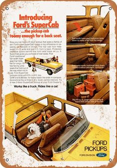1974 Ford F Series SuperCab Pickup Truck USA Original Magazine Advertisement Classic Ford Trucks, Ford Pickup Trucks, Classic Cars, Classic Auto, 1954 Ford Truck, 65 Mustang Fastback, Ford F Series, Vintage Tractors, Ford News
