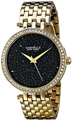 Caravelle New York Womens 44L121 Analog Display Japanese Quartz Gold Watch * Learn more by visiting the image link.