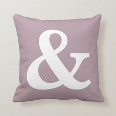 Mauve White Ampersand Sign Throw Pillow | Zazzle.com Ampersand Sign, Purple Throw Pillows, Decorative Cushions, Shades Of Purple, Custom Pillows, Home Decor Accessories, Mauve, Your Design, Art Pieces