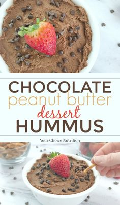 Enjoy a healthier treat with this vegan, gluten-free Chocolate Peanut Butter Dessert Hummus. Filled with protein, fiber and a bit of sweetness to satisfy your chocolate craving in a good way! | recipe via www.yourchoicenutrition.com #yourchoicenutrition #food #recipe #healthyeating #glutenfree #healthylifestyle #dietitian #dietitianapproved #healthyrecipe #vegan #chocolate #peanutbutter #treat #hummus #mindfuleating #dessert #snack #intuitiveeating