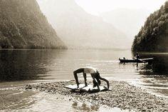 1938: Eva Braun practicing yoga at Konigssee, Berchtesgaden, Germany (vintage yoga photo)