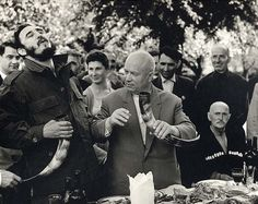 Fidel Castro and Nikita Khrushchev drinking wine from a drinking horn in the Soviet Republic of Georgia - 1963